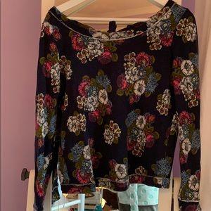 Floral scoop neck sweater
